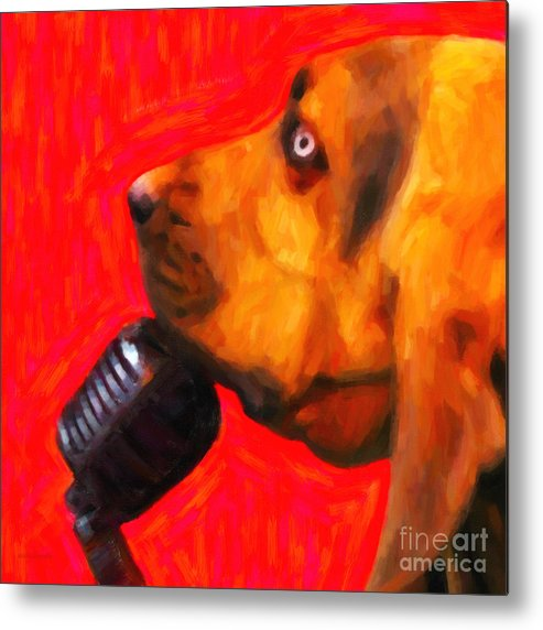 Animal Metal Print featuring the photograph You Ain't Nothing But A Hound Dog - Red - Painterly by Wingsdomain Art and Photography