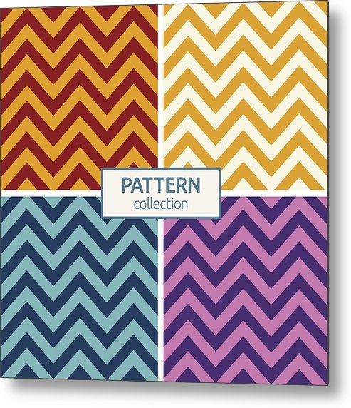 Zigzag Color Lines Seamless Patterns Metal Print