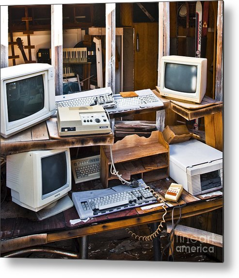 Abandoned Metal Print featuring the photograph Old Computers In Storage by Eddy Joaquim