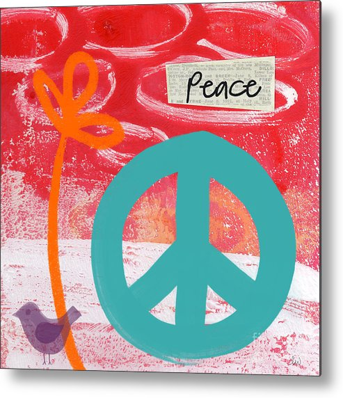 Abstract Metal Print featuring the mixed media Peace by Linda Woods