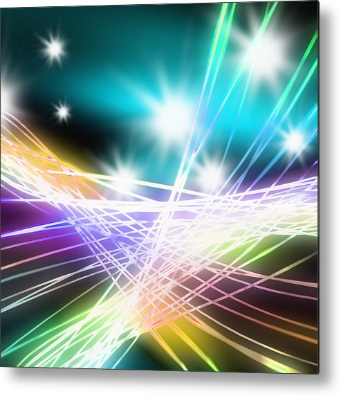 Abstract Metal Print featuring the photograph Abstract Of Stage Concert Lighting by Setsiri Silapasuwanchai