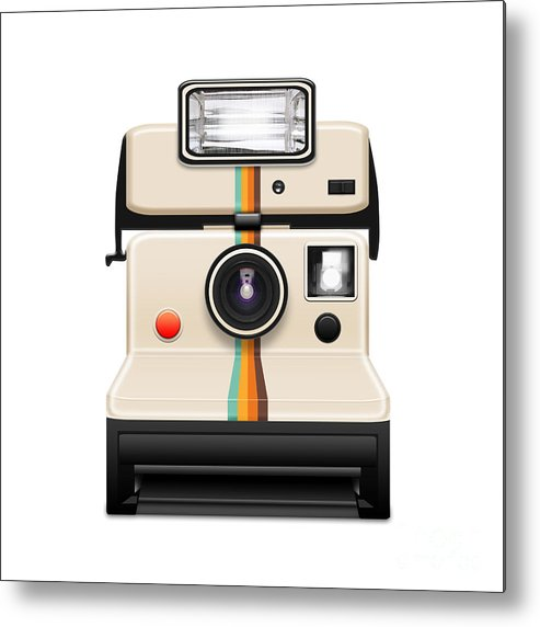 Analog Metal Print featuring the photograph Instant Camera With A Blank Photo by Setsiri Silapasuwanchai