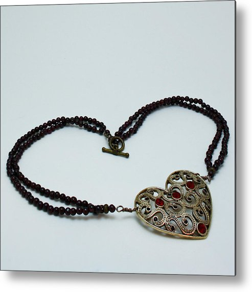 Original Handmade Jewelry Metal Print featuring the jewelry 3597 Vintage Heart Brooch Pendant Necklace by Teresa Mucha