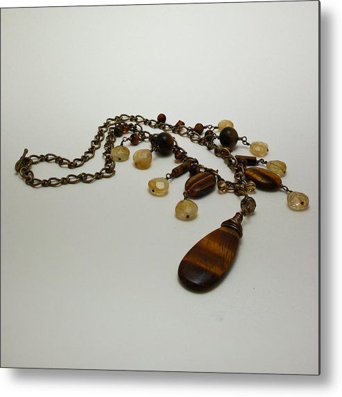 Original Handmade Jewelry Metal Print featuring the jewelry 3618 Tigereye And Citrine Necklace by Teresa Mucha