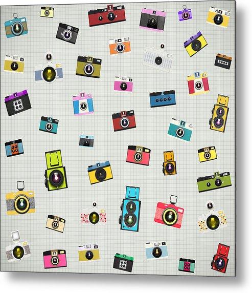 Analog Metal Print featuring the photograph Retro Camera Pattern by Setsiri Silapasuwanchai