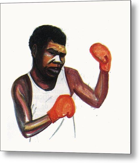 Portraits Metal Print featuring the painting Battling Siki by Emmanuel Baliyanga