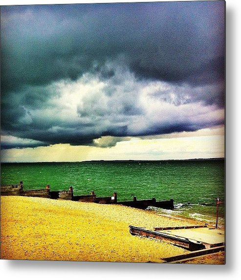 Beautiful Metal Print featuring the photograph #beach #whitstable #sea #sand #summer by Samuel Gunnell