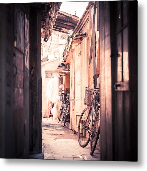 Square Metal Print featuring the photograph Beijing Hu Tong Alleys by Capturing a second in life, Copyright Leonardo Correa Luna
