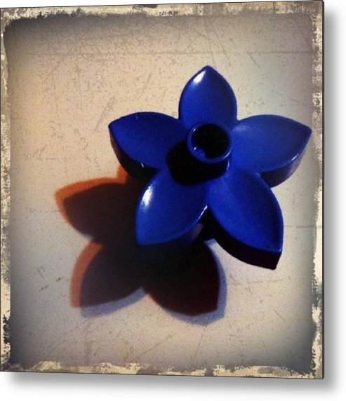Flower Metal Print featuring the photograph Blue Plastic Flower by Ken Powers
