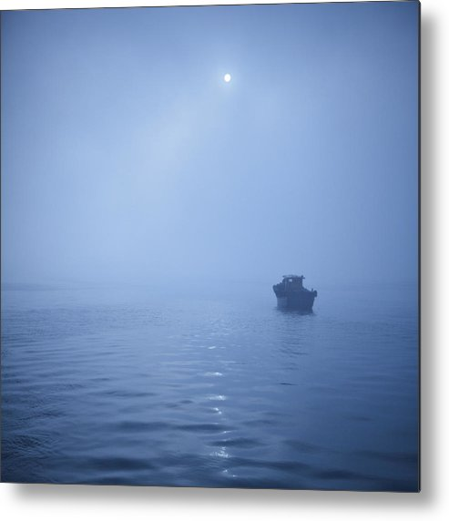 Square Metal Print featuring the photograph Boat In Misty Waters by Copyright Yug_and_her