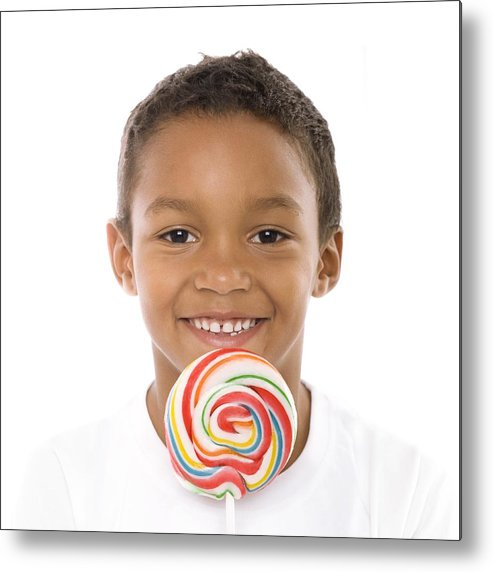 6-7 Years Metal Print featuring the photograph Boy With Lollipop by