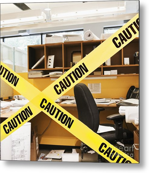 Architecture Metal Print featuring the photograph Caution Tape Blocking A Cubicle Entrance by Jetta Productions, Inc
