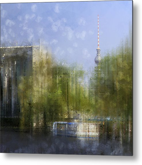 Square Metal Print featuring the photograph City-art Berlin River Spree by Melanie Viola