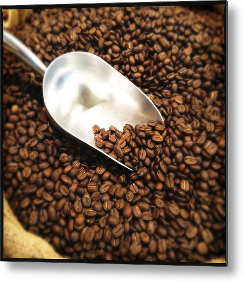 Square Metal Print featuring the photograph Coffee Beans For Sale by Nathan Blaney
