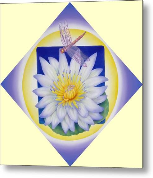 Marcia Perry Metal Print featuring the painting Dragonfly And Waterlily by Marcia Perry