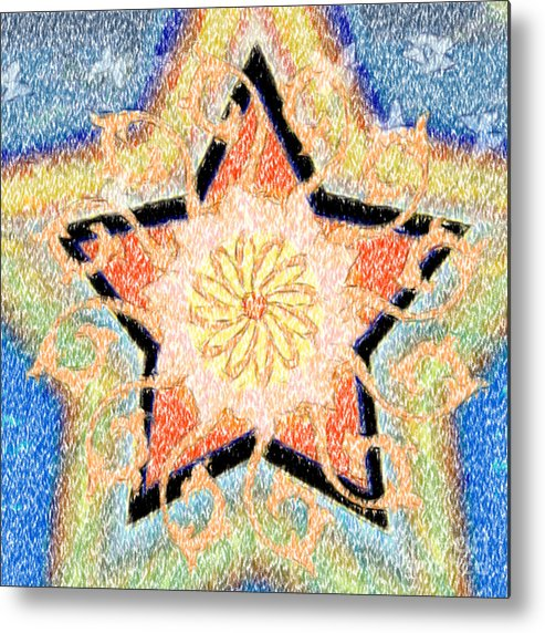 Star Metal Print featuring the digital art Floral Star Yantra by Gia Simone