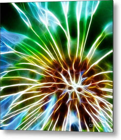 Abstract Metal Print featuring the photograph Flower - Dandelion Tears - Abstract by Paul Ward