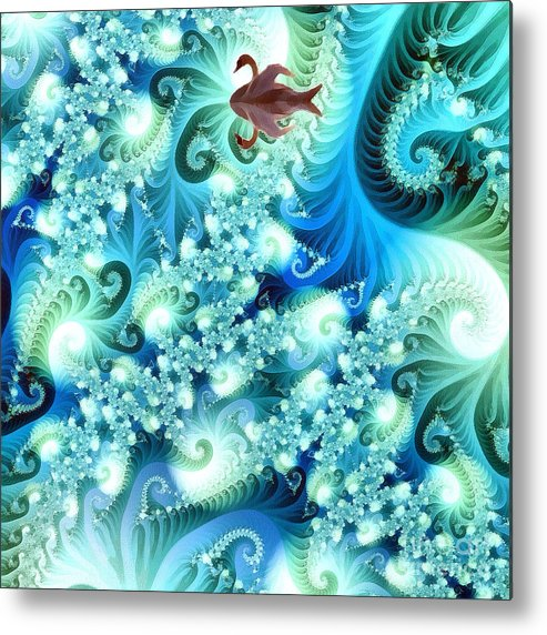 Abstract Metal Print featuring the digital art Fractal And Swan by Odon Czintos