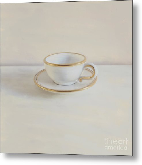 Gilt Cup Metal Print featuring the photograph Gilt Cup On White Marble by Paul Grand