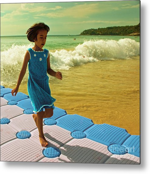 Girl Metal Print featuring the photograph Girl In A Knitted Dress by Paul Grand