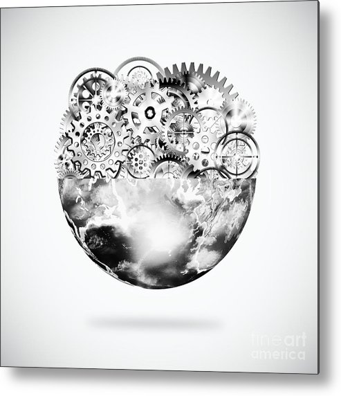Art Metal Print featuring the photograph Globe With Cogs And Gears by Setsiri Silapasuwanchai