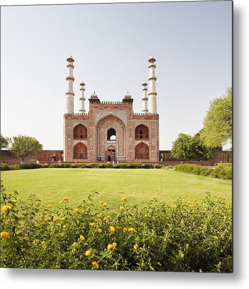Square Metal Print featuring the photograph India, Uttar Pradesh, Agra, Sikandra, Akbar's Tomb by Bryan Mullennix