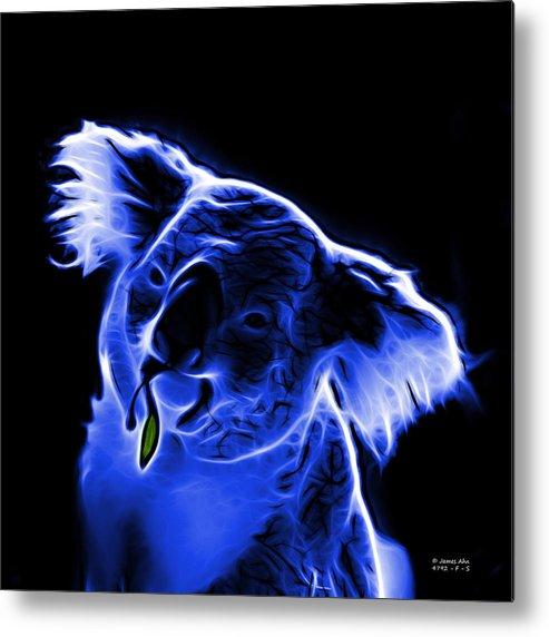 Koala Metal Print featuring the digital art Koala Pop Art - Blue by James Ahn