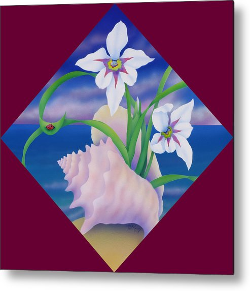 Marcia Perry Metal Print featuring the painting Ladybug And Iris by Marcia Perry