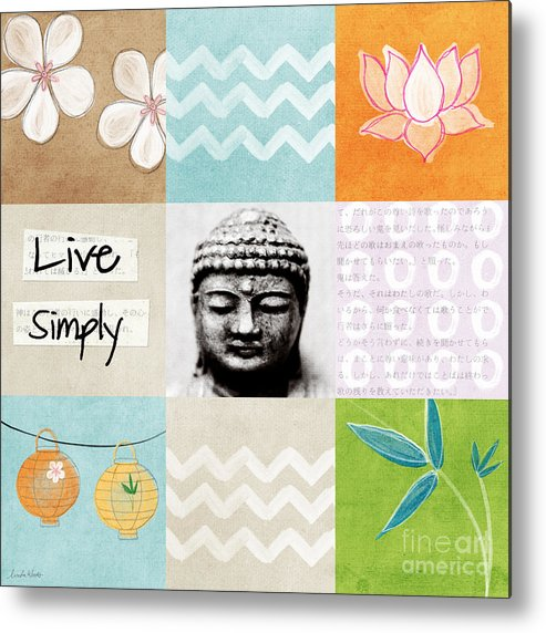 Buddha Metal Print featuring the mixed media Live Simply by Linda Woods