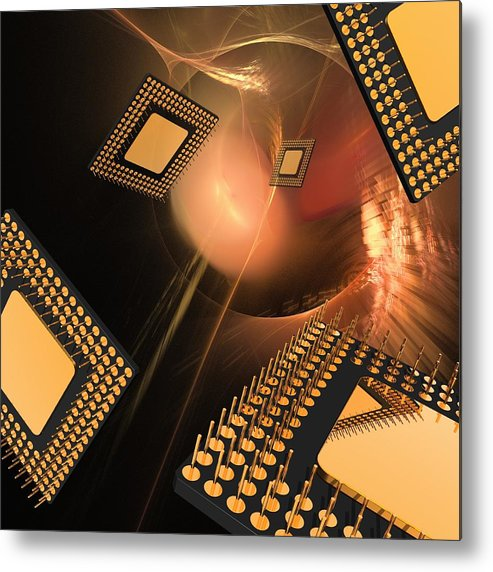 Square Metal Print featuring the digital art Microprocessor Chips, Artwork by Laguna Design