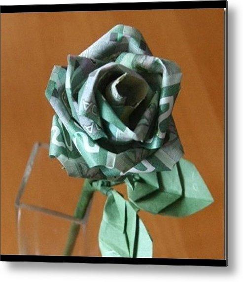 Money Rose In Bloom Origami Flower Metal Print By Cindy Ho