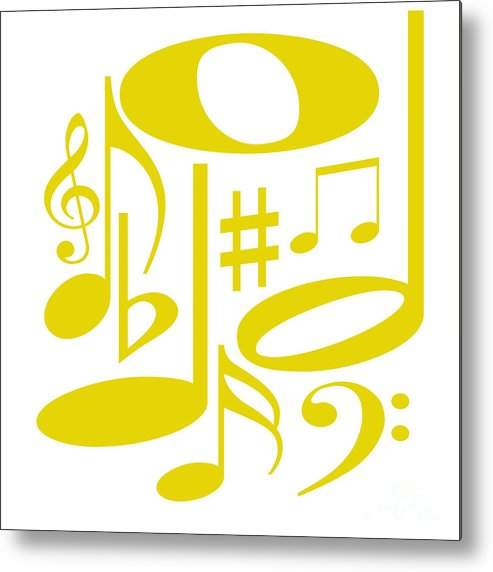 Abstract Metal Print featuring the digital art Musical Yellow by Susan Stevenson