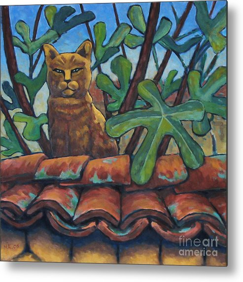 Animals Metal Print featuring the painting Neighbours Cat by Nikolai Kraneis