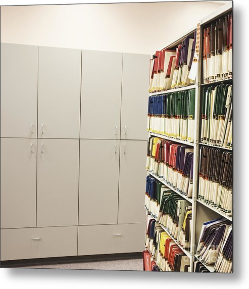 Building Metal Print featuring the photograph Office Cabinets And Colorful Files by Jetta Productions, Inc