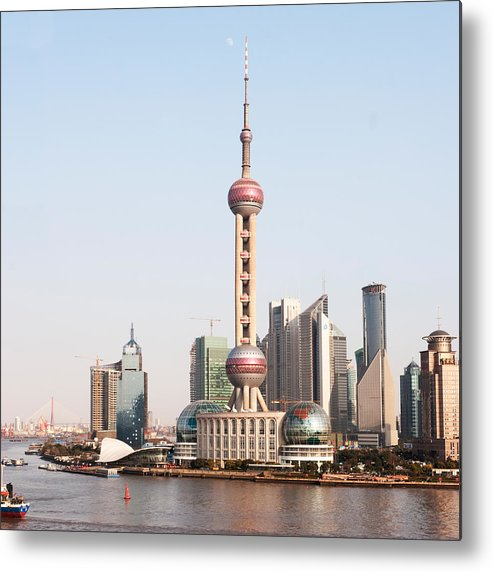 Square Metal Print featuring the photograph Oriental Pearl Tower In Shanghai by Roy Hsu