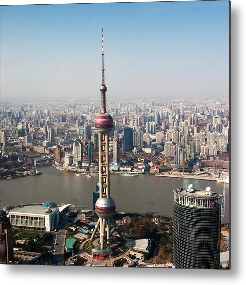 Square Metal Print featuring the photograph Overhead View Of Oriental Pearl Tower In Shanghai by Roy Hsu