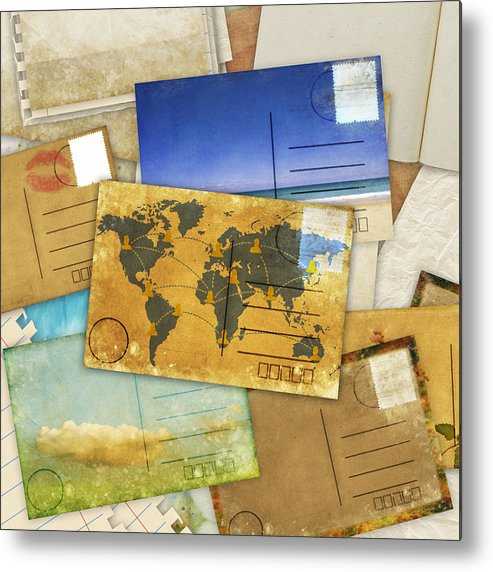 Abstract Metal Print featuring the photograph Postcard And Old Papers by Setsiri Silapasuwanchai
