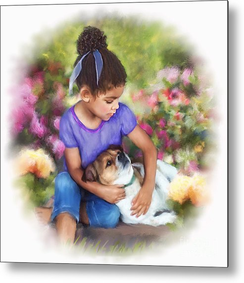 Puppy Love Metal Print featuring the mixed media Puppy Love by Dawn Serkin