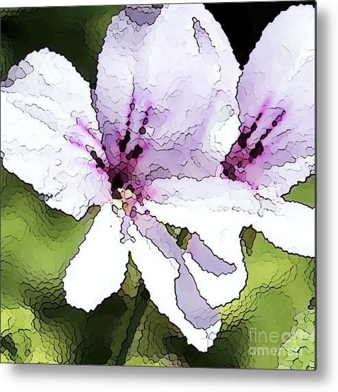 Geranium Metal Print featuring the painting Purple Geranium by Artist and Photographer Laura Wrede