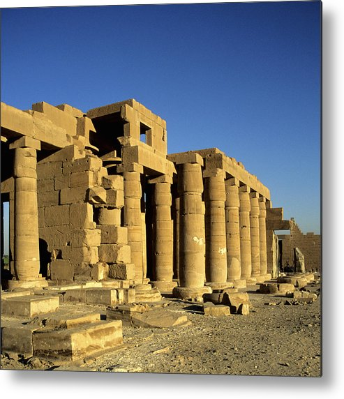 Square Metal Print featuring the photograph Ramesseum Temple, Luxor, Egypt by Hisham Ibrahim