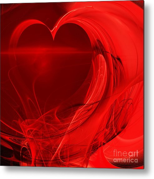 Fractal Metal Print featuring the photograph Red Love . Square . A120423.279 by Wingsdomain Art and Photography