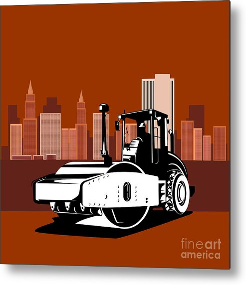 Road Roller Metal Print featuring the digital art Road Roller Retro by Aloysius Patrimonio