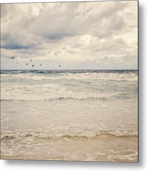 Square Metal Print featuring the photograph Seagulls Take Flight Over Sea by Photo - Lyn Randle