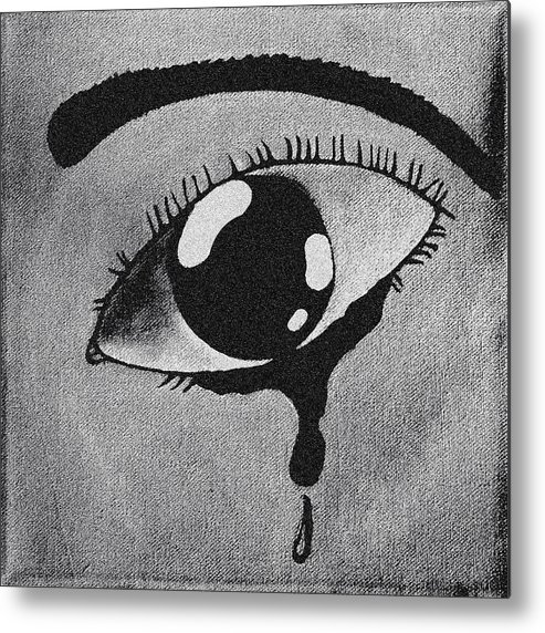 Eye Metal Print featuring the painting Separation In Blackand White by Darren Stein
