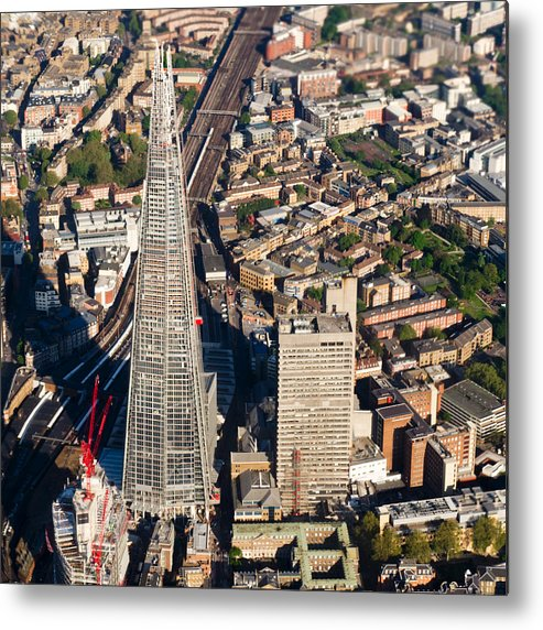 The Shard Metal Print featuring the photograph Shard London Aerial View by Gary Eason