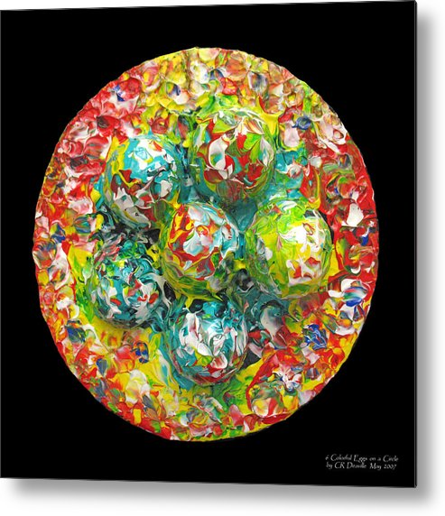 Original Metal Print featuring the painting Six Colorful Eggs On A Circle by Carl Deaville