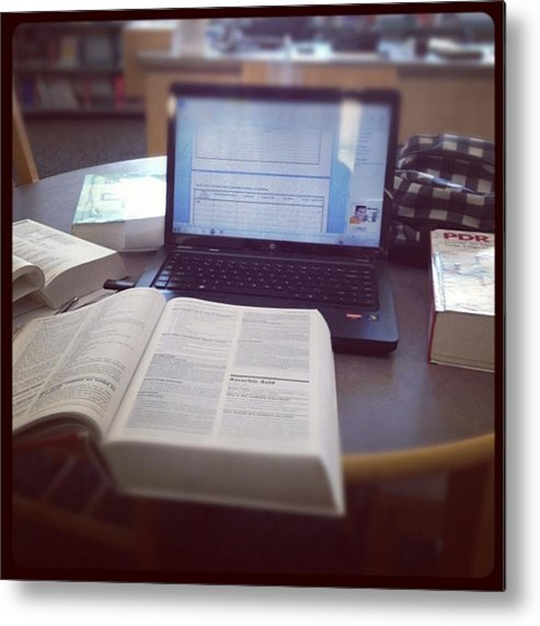 Medicine Metal Print featuring the photograph #studying 😷 #nursing #library by Nena Alvarez