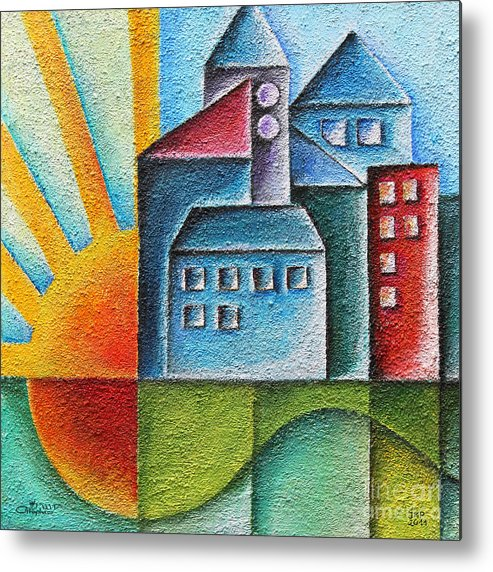 Paint Metal Print featuring the painting Sunny Town by Jutta Maria Pusl