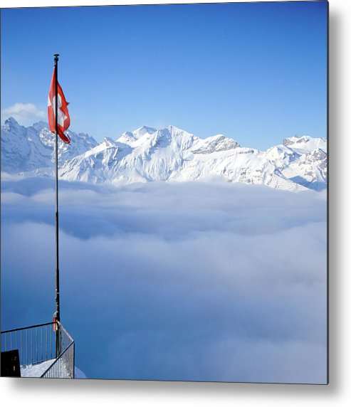 Square Metal Print featuring the photograph Swiss Alps Panorama by Image by Christian Senger