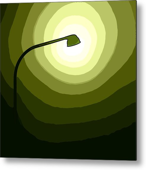 Laterne Lamp Lantern Lamp-post Light Shine Modern Oil Painting Darkness Shadow Energy Abstract Beam Ray Halo Flash Reflactor Simply Simplicity Green White Plain Grass Field Color Colorful  Metal Print featuring the digital art The Future Is Green by Steve K